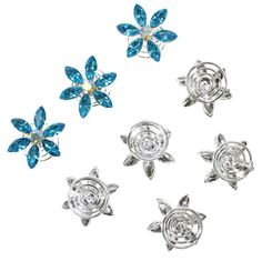 Amazon.com: Blue Crystal Flower Hair Coil Twister Spiral Pins Bridal Wedding Hair Accessory With Rhinestone Center (Set of 8): Jewelry
