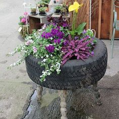 ideas for using old tyres outdoors in the garden for plants