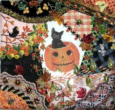 Crazy Quilting and Embroidery Blog by Pamela Kellogg of Kitty and Me Designs: Crazy Quilt Halloween Pillow