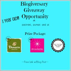Pastries, Pumps and Pi: Blogiversary Giveaway Opportunity
