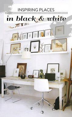 Werkruimte in zwart wit. Ikea Ribba houder voor schilderijen. Artemide lamp.