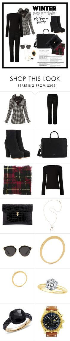 """""""Work Attire 51 : Winter City Chic"""" by katieparker3 ❤ liked on Polyvore featuring Jean-Paul Gaultier, Thom Browne, Gianvito Rossi, Alexander McQueen, Jennifer Meyer Jewelry, Christian Dior, Nora Kogan, Tiffany & Co., Pomellato and Breitling"""