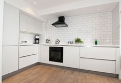 white tiles modern kitchen - Google Search