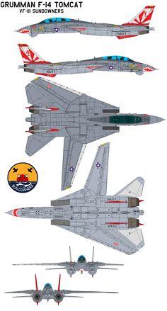 Grumman F-14 Tomcat VF-111 Sundowners by bagera3005