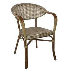 Juego de 4 sillones de aluminio y textil para terraza o interior Bolero