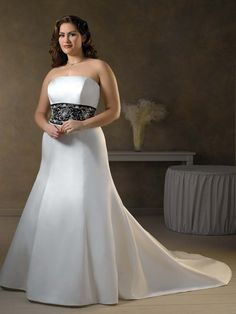 b6e94800ba4e2 Satin Simple Strapless Neckline with embroideried and Beaded band Semi  Cathedral Train 2011 Hot Sell Plus Size Wedding Dress