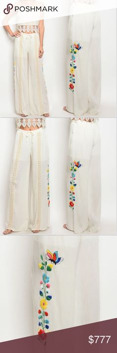 "VAVA BY JOY HAN EMBROIDED PANTS Brand new with tags   SPRING/SUMMER 2018 COLLECTION!  VAVA BY JOY HAN CREAM PANTS FEATURING CROCET DETAIL DOWN FRONT OF PANTS ANS AMAZING EMBROIDERED DETAILS ON SIDE.   TRUE TO SIZE FOR STYLE shorts lining  Waist has elastic waist band inside and drawstring. S: 40.5"" long /inseam 30.5"" /10"" M; 41"" long /inseam 31.5""/ rise 10.5"" L; 42"" long /nseam 32""/Rise 11 Vava by Joy Han Pants"