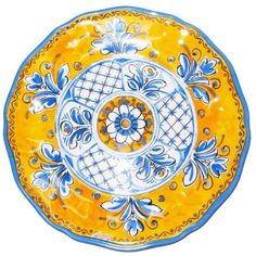 Authentic Le Cadeaux 11 in. Benidorm Yellow Dinner Plate, ,