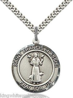 "St Francis Patron Saint Sterling Silver Medal Necklace w/24"" Stainless Chain"