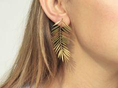 Your place to buy and sell all things handmade - Palm Leaves Earrings Dangle Earrings Minimalist Jewelry Bar Stud Earrings, Dainty Earrings, Big Earrings, Leaf Earrings, Bridal Earrings, Silver Earrings, Diamond Earrings, Statement Earrings, Helix Earrings