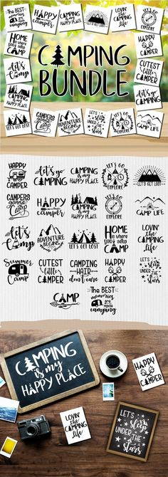 Camper SVG – Happy Camper SVG – Camping SVG – Camping Bundle – Camping clipart – Camper Life – Adventure svg – Cricut – Silhouette cut files – All For Garden Camping Snacks, Camping Ideas, Camping Diy, Camping Signs, Camping Theme, Camping Crafts, Camping Survival, Camping Style, Survival Tips