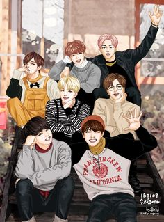 This is so amazing! This is one of my fav drawings of BTS!