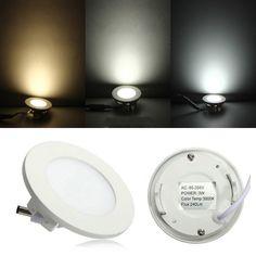 3W Round Ceiling Ultrathin Panel LED Lamp Downlight Light 85-265V