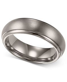 Triton Men's Titanium Ring, Comfort Fit Wedding Band (6mm) - Rings - Jewelry & Watches - Macy's
