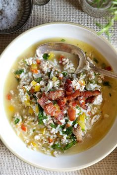 Turkey and Rice Vegetable Soup, use caulirice vs white rice for lower carb soup