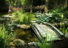 The 5 secrets of a Japanese garden # of a # Jap – Japanese Garden Design , Garden Oasis, Garden Pond, Garden Trees, Garden Bridge, Garden Landscaping, Backyard Water Feature, Ponds Backyard, Japanese Garden Design, Japanese Style