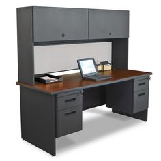 Pronto Executive Desk with Double File and Flipper Door Cabinet