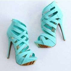 Women's Style Pumps Cyan Open Toe Back Zipper Hollow Out Stiletto Heels Sandals 2017 Fall Fashion Trends Fall Fashion Prom Dresses Shoes Back To School Outfits For College for Work, Formal event Dream Shoes, Crazy Shoes, Me Too Shoes, High Heels Gold, Leather High Heels, Mint Heels, Black Leather, Green Heels, Suede Leather