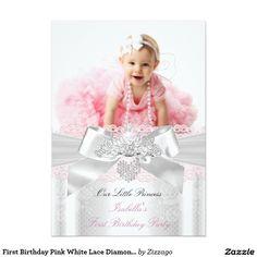 Princess girl first birthday 1st party invitation first birthday first birthday pink white lace diamond tiara 5x7 paper invitation card stopboris Images