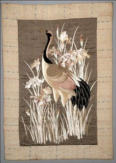 Panel with Crane and Irises, Meiji period (1868-1911), silk and gold-wrapped thread embroidery (satin with couching, running and seed stitches) on damask ground, artist unknown, Japanese Spencer Museum of Art Photo