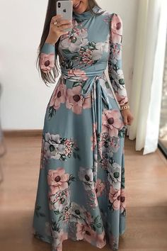 Mommy & Baby Chic Dress, Matching Fashion, Shop Light-green Floral Print Long Sleeve Tied Zip-back Casual Maxi Dress online. Women's A Line Dresses, Maxi Dresses, Long Casual Dresses, Maxi Robes, Floor Length Dresses, Short Dresses, Hijab Stile, Elegant Maxi Dress, Chic Dress