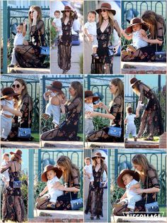 As a model she knows exactly how to work a runway look and even when in mummy mode Nicole Trunfio makes sure she looks her best.  The 29-year-old beauty was seen looking suitably stylish as she enjoyed a play date with her adorable son Zion at a park in Venice, California.  Nicole wowed in a semi-sheer dress that boasted a floral pattern and she accessorised the garment to perfection.