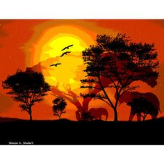 Elephant Art, Africa Safari, Digital Photomontage, Serengeti Home... ($25) ❤ liked on Polyvore featuring home, home decor and wall art