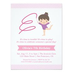 Girl and Ribbon Gymnastics Kids Birthday Party Personalized Invites
