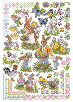 Lindner's Kreuzstiche: Ostergrüße : Themen 123 Cross Stitch, Cross Stitch Books, Cross Stitch Flowers, Crochet Stitches Patterns, Cross Stitch Patterns, Easter Cross, Graph Paper, Peter Rabbit, Needlework