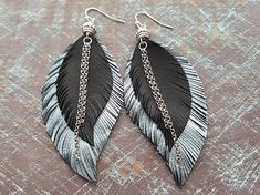 Feather earrings. Leather feather earrings. Leather earrings. Boho earrings. Bohemian earrings. Tribal earrings. Long leather earrings. Boho jewelry. Leather jewelry. Materials: leather,silver plated jewelry findings. Colour: black,silver. Full length: 9 cm( 3.55) If you have any
