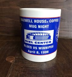 MAXWELL HOUSE COFFEE MUG HOCKEY NHL ST LOUIS BLUES WINNIPEG JETS KIEL CNTR 1996