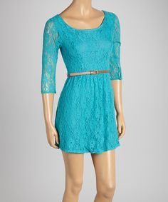 Take a look at this Flying Tomato Turquoise Lace A-Line Dress on zulily today!
