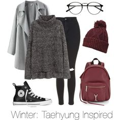 Winter: Taehyung Inspired by btsoutfits on Polyvore featuring H&M, Topshop, Converse, Rebecca Minkoff and Dorothy Perkins