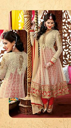Red And Cream Net Designer Salwar Kameez AG810456