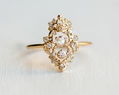 Drawing Room Diamond Engagement Ring with a rose cut center diamond