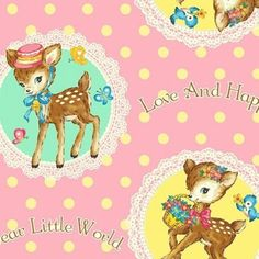 Bambino Fabric, Dear Little World, Japanese Fabric, Little Lambs, Deers, Vintage, Nursery, 1950's, Kawaii, Cute, Cotton, Sewing, Quilting | Dolly Henry - Australian Stockist of Quality Quilting Fabrics