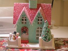 One of my first Glitter/putz houses.