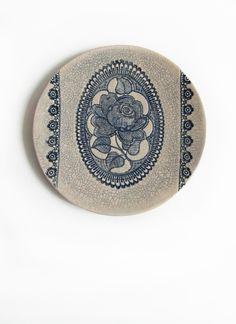 Great Blue Rose Keramik Kunst Wand Skulptur Keramik Wand Teller Shabby Chic Dekor Art Deco Keramik Wohndekor Haus Dekoration Kunst Geschenk