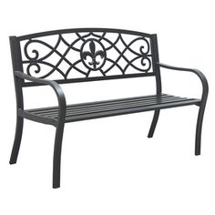Garden Treasures 23.75 In L Steel/Iron Patio Bench