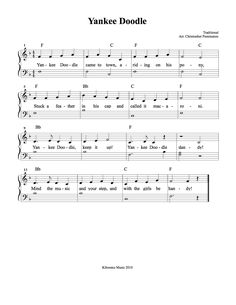Yankee Doodle Sheet Music and Song for Kids!l