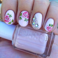 Rose nails. I wish I was this talented with nails.