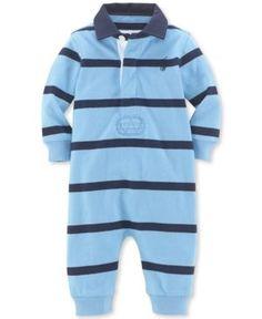 Ralph Lauren Baby Boys' Rugby Striped Coverall - Blue Multi Newborn