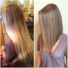 love the vivid color and long bob cut