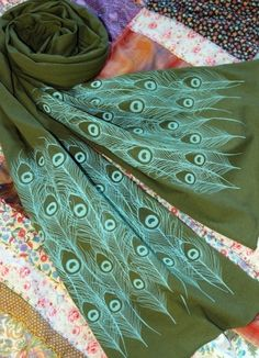Screen Printed Jersey Scarf in Olive with by MichelleBrusegaard, $25.00