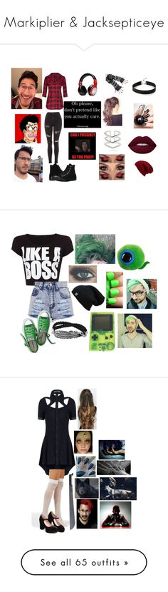 """Markiplier & Jacksepticeye"" by dappershadow ❤ liked on Polyvore featuring Beats by Dr. Dre, Topshop, Express, Astrid & Miyu, Converse, Halogen, WearAll, HUE, Namrata Joshipura and Acne Studios"