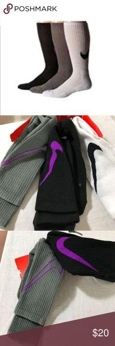 Nike Dri-fit 3-pack Hbr Crew Socks. Nike Dri-fit 3-pack Hbr Crew Socks Black/Vivid Purple/White/Black/Grey Nike Underwear & Socks Athletic Socks