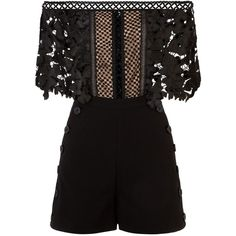 Self-Portrait Off-The-Shoulder Cutwork Playsuit ($335) ❤ liked on Polyvore featuring jumpsuits, rompers, off shoulder romper, floral rompers, floral romper, floral print romper and playsuit romper