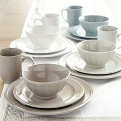 Brigitte 16-Piece Dinnerware Set in Oyster, Ivory or Sage >> via Ballard Designs