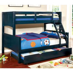 Brighten your children's bedroom with the colorful finish of this bunk bed and trundle set. Offered in four colors, this 2-piece set offers the perfect design for siblings of all ages while a handy tr