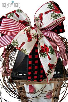 Get the step-by-step tutorial on how to create this Christmas Lantern - Featuring gorgeous ribbons and cute little cardinals — Trendy Tree Lantern Christmas Decor, Christmas Tree Decorations, Christmas Wreaths, Christmas Ornaments, Christmas Centerpieces, How To Make Wreaths, How To Make Bows, Seasonal Decor, Fall Decor